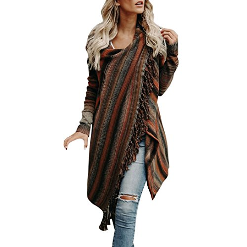 VENMO Frauen Strickpullover Unregelmäßige Quaste Strickjacke Strick Jacke Shirts Damen streifenpullover Kleid Mode Frauen Langarm Pullover Strick Sweatshirt Flauschiger Langarm Tops (Colorful, M)